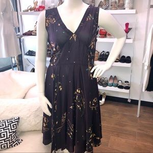 Johnny Was Deep Purple Floral Print Silk Dress